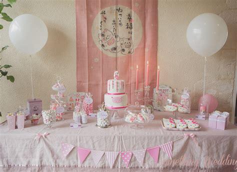 sweet table rose idee bapteme