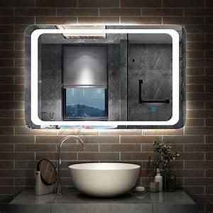 Illuminated, Bathroom, Mirror, With, Demister, Over, Bathroom