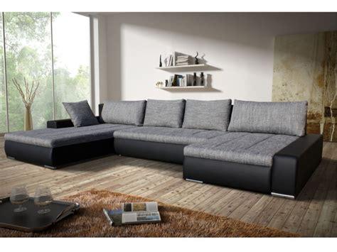 canapé d angle convertible en tissu canapé angle convertible tissu et simili gris noir seducto