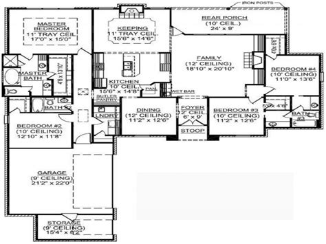 4 bedroom floor plans one 4 bedroom one house plans residential house plans 4