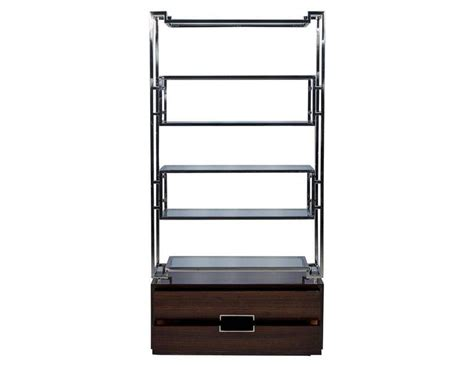 Stainless Steel Etagere by Geometric Stainless Steel Etagere With Macassar Base At