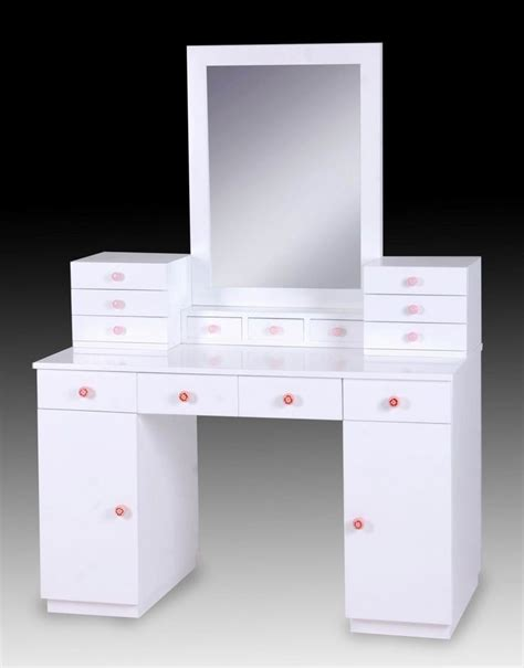 desk with drawers and mirror white glossy wooden vanity dressing table with storage