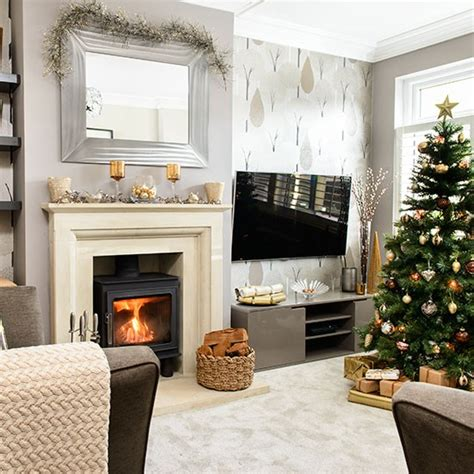 pale grey and taupe christmas living room decorating