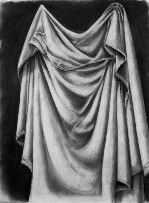 drapery drawing drapery study charcoal craft shadow drawing