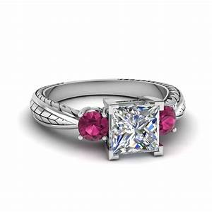 Three stone engagement rings fascinating diamonds for Princess cut pink diamond wedding rings