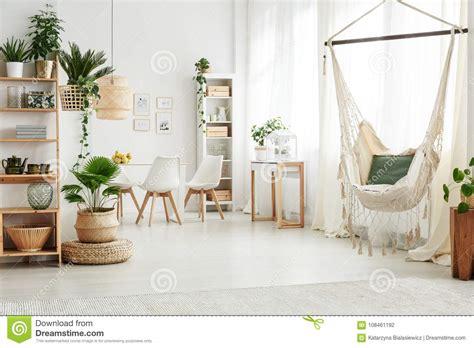 hammock  bright living room stock photo image
