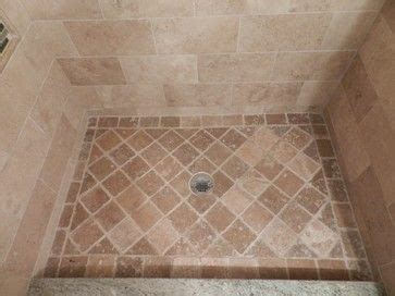 design custom shower pan   tumbled noce