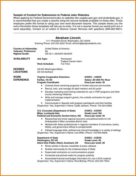 federal style resume pdf free federal resume