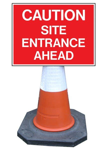 caution site entrance  cone mounted sign ref cns