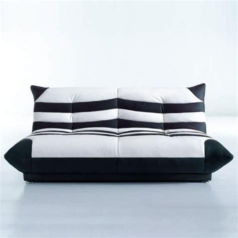 canapé clic clac noir clic clac shamu design simili cuir é noir blanc achat