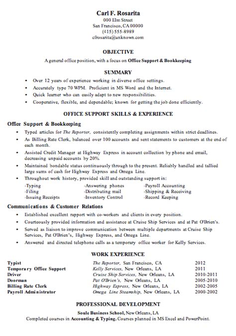 Bookkeeping Skills For Resume by Resume Sle Office Support Bookkeeping Resumes