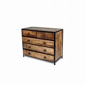 Commode Style Industriel : commode vintage en bois patin et m tal vieilli ~ Teatrodelosmanantiales.com Idées de Décoration
