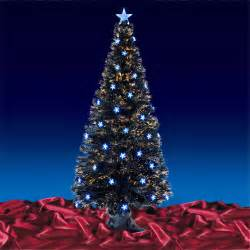 festive 6ft 180cm black fibre optic crimbo xmas christmas tree w blue led stars ebay