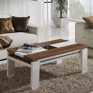 Table Basse Relevable Blanc Et Bois Mobilier