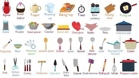 Kitchen Items Vocab by Kitchen Utensils Names In And Dandk Organizer