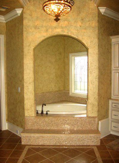 enclosed corner tub  tile steps add candles