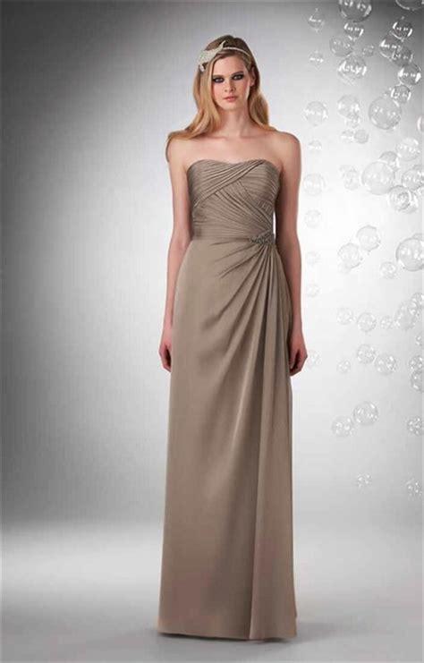 sheath strapless long brown chiffon draped wedding guest