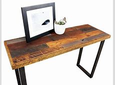 Reclaimed Patchwork Wood Hall Table With Metal Legs