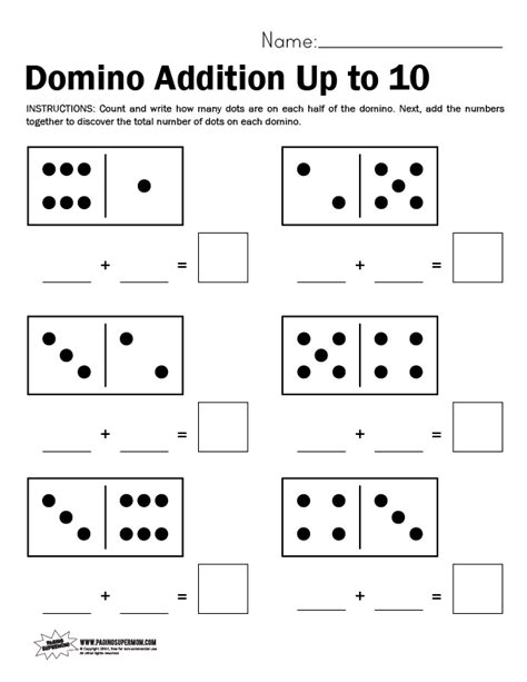 domino worksheet adding    paging supermom