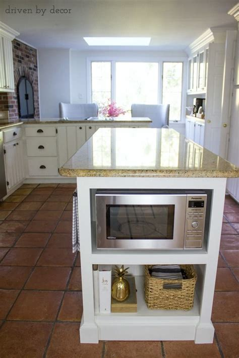 remodeled kitchen island  built  microwave shelf