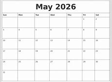 May 2026 Calendar Monthly