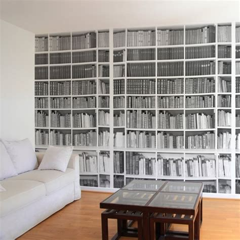 papier peint trompe loeil bibliotheque pour linterieur