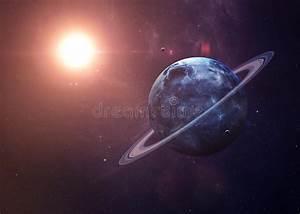 Uranus Met Manen Van Het Ruimte Alle Tonen Zij Stock Foto ...