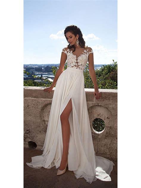 Cap Sleeves Lace Bodice High Split Wedding Dresses Bridal