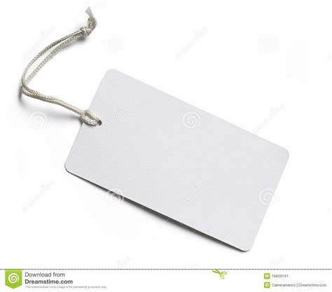 Blank Price Tag On White Stock Image. Image Of Sale, Blank