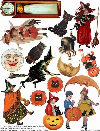 Halloween Collage Clip Clipart Sheet Printables Retro