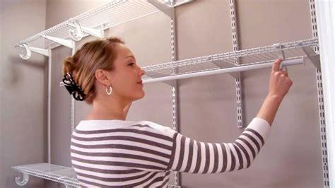 small walk in closet organizer closetmaid shelftrack installation