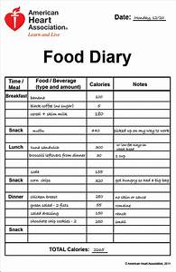 Food journal for Keeping a food diary template
