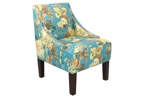 swoop arm chair blue floral accent from one