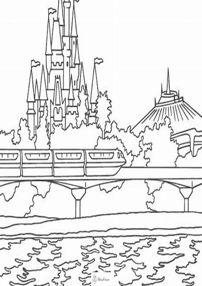 Coloring Disney Pages Disneyland Castle Rides Colouring