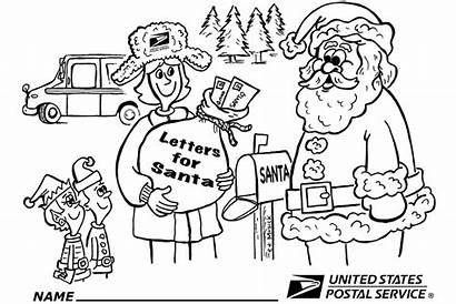 Usps Coloring Santa Letter Holiday Carrier Link