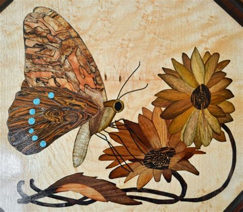 hand crafted jewelrykeepsake box  butterfly marquetry