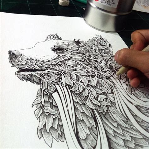 intricate  drawings beautifully combine animals  nature