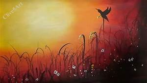 Sunset Bird, Easy lesson,Acrylic Painting for beginners ...