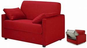 Petit Canapé Convertible Pas Cher : fauteuil lit pas cher tissu rouge fauteuil convertible ~ Teatrodelosmanantiales.com Idées de Décoration