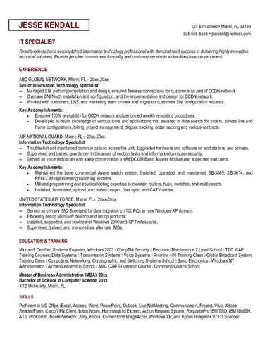 Resume For It Specialist by It Specialist Federal Resume Sle