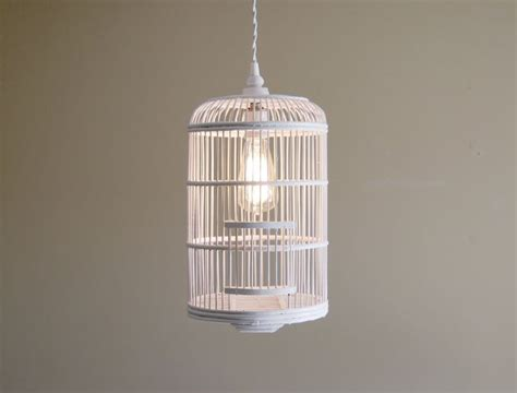 bird cage pendant light fixture w twisted cloth covered