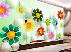 Custom 3D wallpaper, colorful flowers and box for the ...