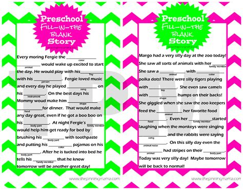 mad libs story activity for preschoolers the pinning 925 | webmad libs