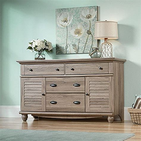 sauder harbor view 4 dresser salt oak sauder harbor view 4 drawer salt oak dresser 414942 the
