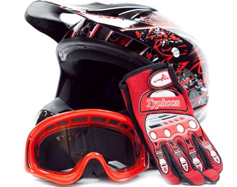 gear for motocross motocross helmet with gloves and goggles red dirt