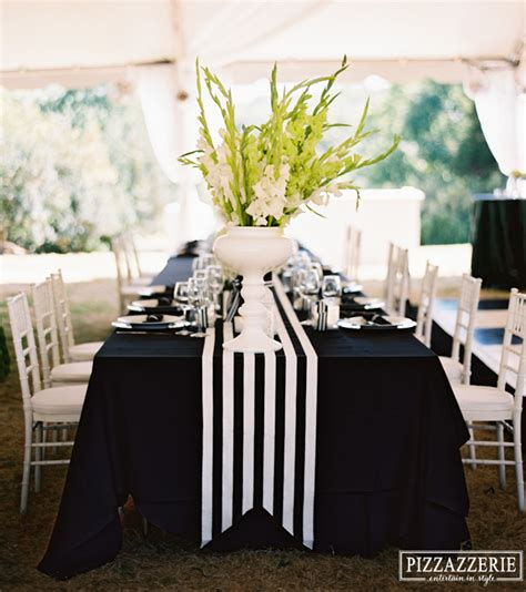 black and white dinner table setting my black and white striped wedding pizzazzerie