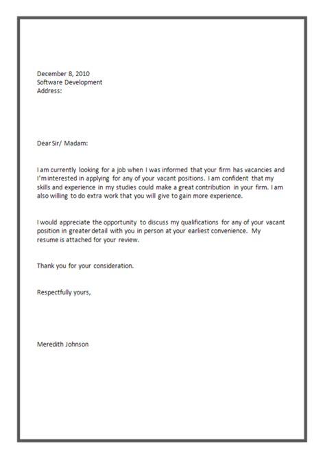 software tester application letter sle job application