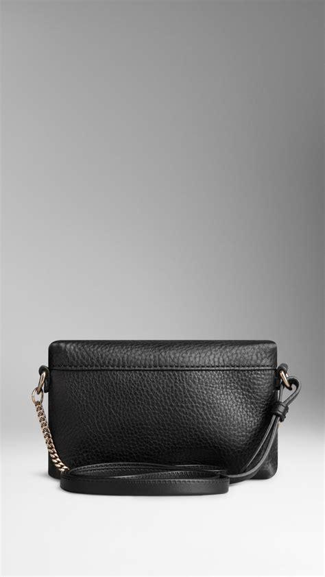 burberry mini grainy leather crossbody bag  black lyst
