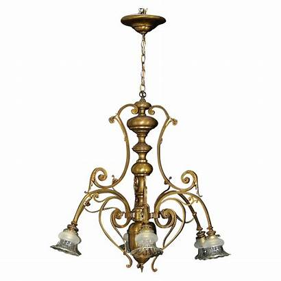 Chandelier Antique Bronze French Glass Shades Cut