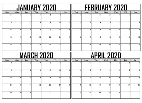 blank january  april  calendar excel net market